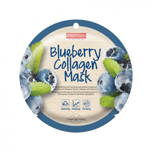 Máscara Facial Purederm Blueberry Collagen