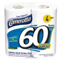 Papel Higiénico Cameratta Hoja Simple 60MTS x4