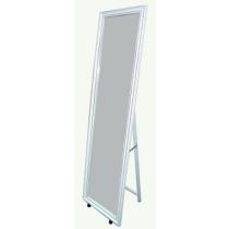 Espejo Recto de Madera y Metal Blanco