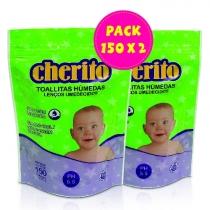 Pack Cherito Toallitas Húmedas 150 x2
