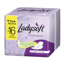 Toallitas Femeninas Ladysoft Ultradelgada Tela Suave Dual con Alas 16 unidades