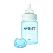 Set Mamadera 260ml y Chupete 0 Meses Avent Classic Varón