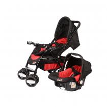 Coche Travel System Swiss Armor Negro y Rojo