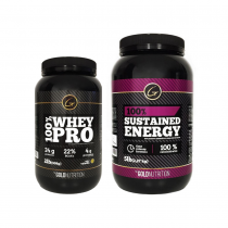 Combo Gold Nutrition 100% Whey Pro 2lb Vainilla + 100% Sustained Energy 5lb Natural