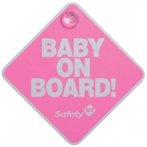 Cartel Safety 1st. Baby on Board Rosado